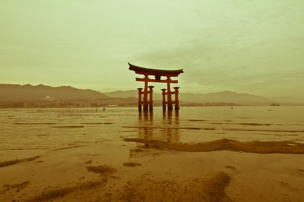 The Torii on tidal flats of Miyajima Island.